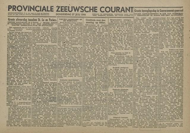 Provinciale Zeeuwse Courant 1944-07-27