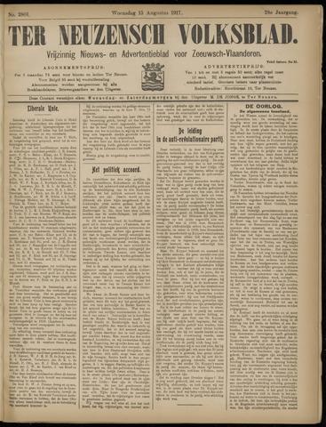 Ter Neuzensch Volksblad. Vrijzinnig nieuws- en advertentieblad voor Zeeuwsch- Vlaanderen / Zeeuwsch Nieuwsblad. Nieuws- en advertentieblad voor Zeeland 1917-08-15