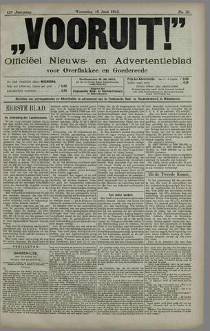 """""""Vooruit!""""Officieel Nieuws- en Advertentieblad voor Overflakkee en Goedereede 1915-06-16"""