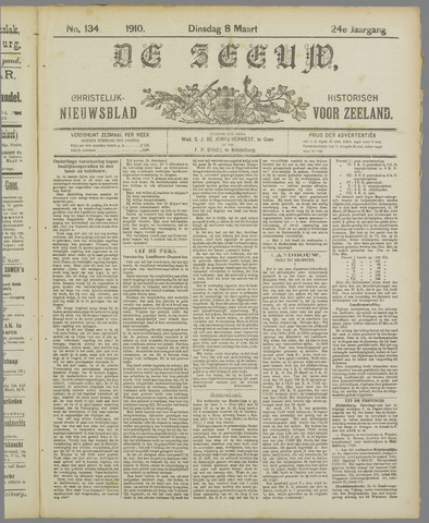 De Zeeuw. Christelijk-historisch nieuwsblad voor Zeeland 1910-03-08