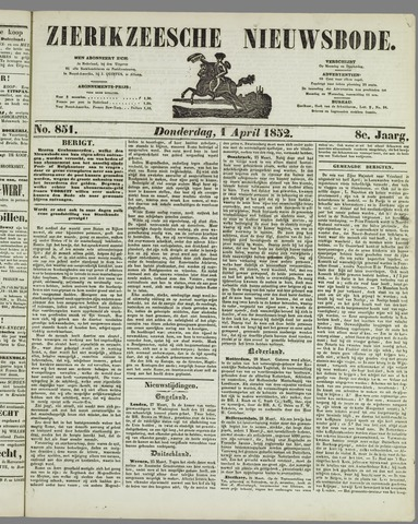 Zierikzeesche Nieuwsbode 1852-04-01