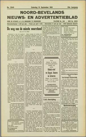 Noord-Bevelands Nieuws- en advertentieblad 1951-09-15