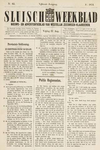 Sluisch Weekblad. Nieuws- en advertentieblad voor Westelijk Zeeuwsch-Vlaanderen 1874-08-21