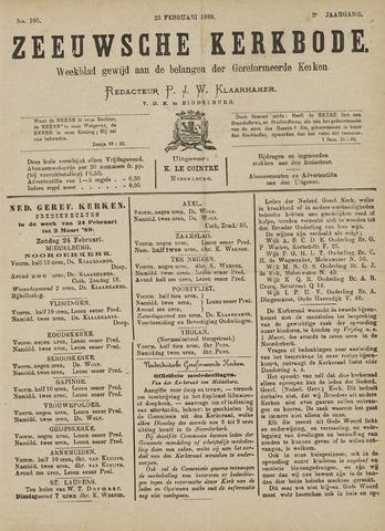 Zeeuwsche kerkbode, weekblad gewijd aan de belangen der gereformeerde kerken/ Zeeuwsch kerkblad 1889-02-23