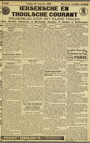 Ierseksche en Thoolsche Courant 1929-08-23
