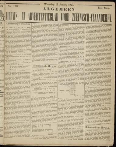 Ter Neuzensche Courant. Algemeen Nieuws- en Advertentieblad voor Zeeuwsch-Vlaanderen / Neuzensche Courant ... (idem) / (Algemeen) nieuws en advertentieblad voor Zeeuwsch-Vlaanderen 1875-01-13