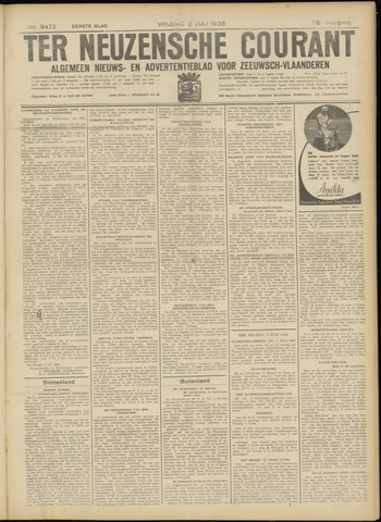Ter Neuzensche Courant. Algemeen Nieuws- en Advertentieblad voor Zeeuwsch-Vlaanderen / Neuzensche Courant ... (idem) / (Algemeen) nieuws en advertentieblad voor Zeeuwsch-Vlaanderen 1936-07-03