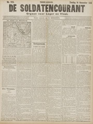 De Soldatencourant. Orgaan voor Leger en Vloot 1915-11-14