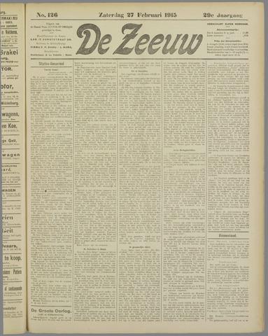 De Zeeuw. Christelijk-historisch nieuwsblad voor Zeeland 1915-02-27