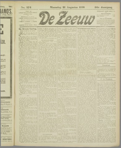 De Zeeuw. Christelijk-historisch nieuwsblad voor Zeeland 1916-08-21