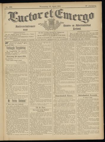 Luctor et Emergo. Antirevolutionair nieuws- en advertentieblad voor Zeeland / Zeeuwsch-Vlaanderen. Orgaan ter verspreiding van de christelijke beginselen in Zeeuwsch-Vlaanderen 1913-04-23