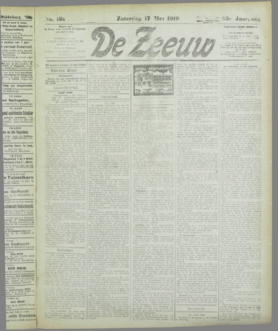 De Zeeuw. Christelijk-historisch nieuwsblad voor Zeeland 1919-05-17