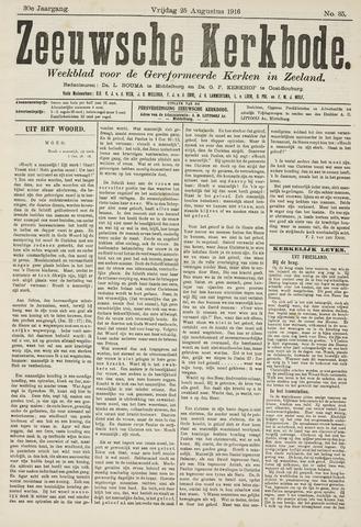 Zeeuwsche kerkbode, weekblad gewijd aan de belangen der gereformeerde kerken/ Zeeuwsch kerkblad 1916-08-25
