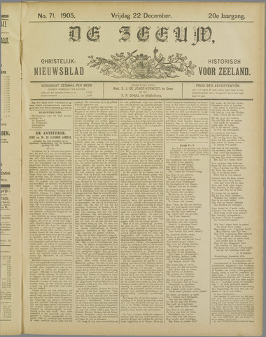 De Zeeuw. Christelijk-historisch nieuwsblad voor Zeeland 1905-12-22