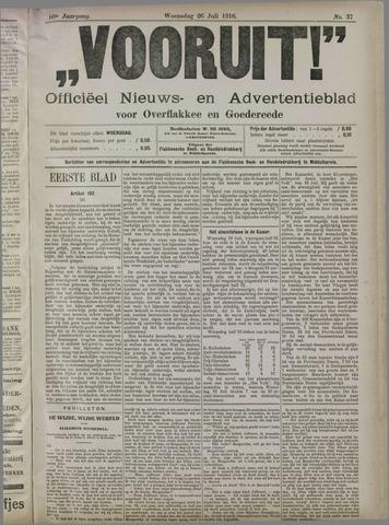 """""""Vooruit!""""Officieel Nieuws- en Advertentieblad voor Overflakkee en Goedereede 1916-07-26"""