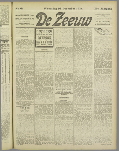 De Zeeuw. Christelijk-historisch nieuwsblad voor Zeeland 1924-12-10