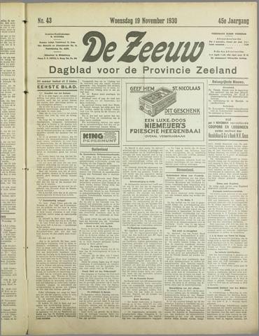 De Zeeuw. Christelijk-historisch nieuwsblad voor Zeeland 1930-11-19