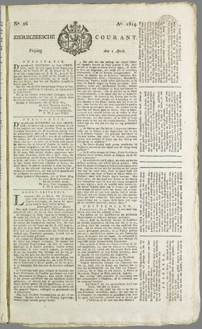 Zierikzeesche Courant 1814-04-01