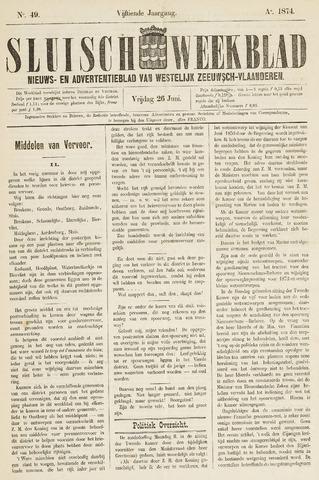Sluisch Weekblad. Nieuws- en advertentieblad voor Westelijk Zeeuwsch-Vlaanderen 1874-06-26