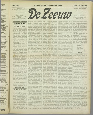 De Zeeuw. Christelijk-historisch nieuwsblad voor Zeeland 1921-12-31