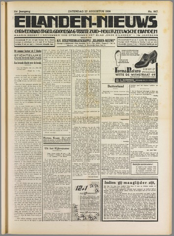 Eilanden-nieuws. Christelijk streekblad op gereformeerde grondslag 1938-08-27