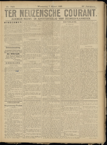 Ter Neuzensche Courant. Algemeen Nieuws- en Advertentieblad voor Zeeuwsch-Vlaanderen / Neuzensche Courant ... (idem) / (Algemeen) nieuws en advertentieblad voor Zeeuwsch-Vlaanderen 1923-03-07