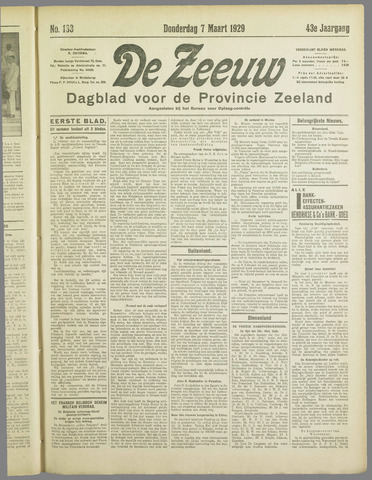 De Zeeuw. Christelijk-historisch nieuwsblad voor Zeeland 1929-03-07