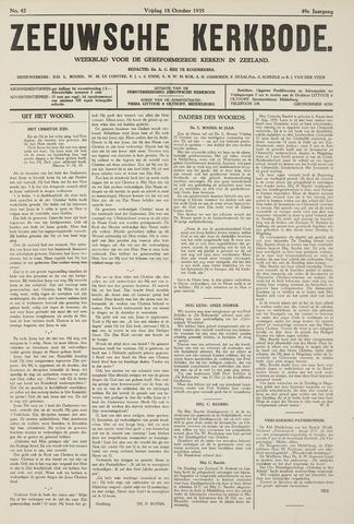 Zeeuwsche kerkbode, weekblad gewijd aan de belangen der gereformeerde kerken/ Zeeuwsch kerkblad 1935-10-18