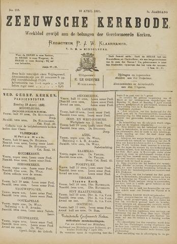 Zeeuwsche kerkbode, weekblad gewijd aan de belangen der gereformeerde kerken/ Zeeuwsch kerkblad 1891-04-18
