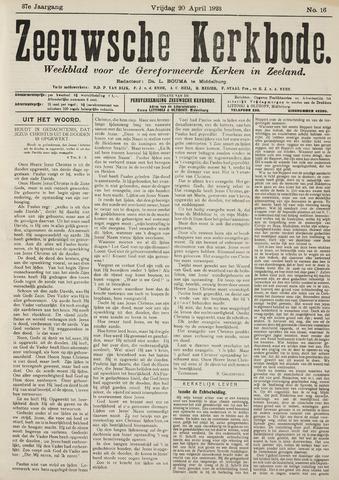 Zeeuwsche kerkbode, weekblad gewijd aan de belangen der gereformeerde kerken/ Zeeuwsch kerkblad 1923-04-20
