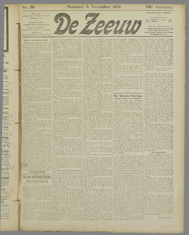 De Zeeuw. Christelijk-historisch nieuwsblad voor Zeeland 1917-11-05