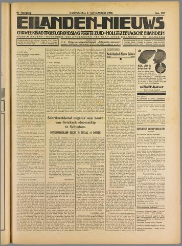 Eilanden-nieuws. Christelijk streekblad op gereformeerde grondslag 1936-11-04