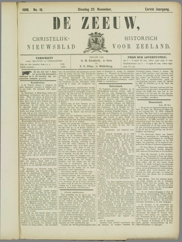 De Zeeuw. Christelijk-historisch nieuwsblad voor Zeeland 1886-11-23
