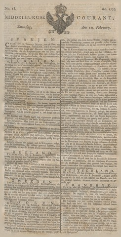 Middelburgsche Courant 1776-02-10
