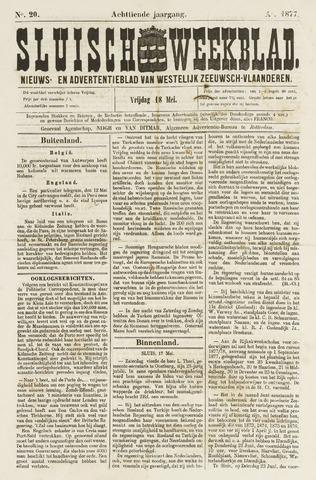 Sluisch Weekblad. Nieuws- en advertentieblad voor Westelijk Zeeuwsch-Vlaanderen 1877-05-18