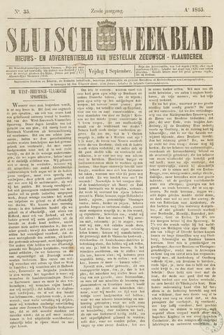 Sluisch Weekblad. Nieuws- en advertentieblad voor Westelijk Zeeuwsch-Vlaanderen 1865-09-01