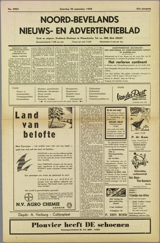 Noord-Bevelands Nieuws- en advertentieblad 1958-09-20