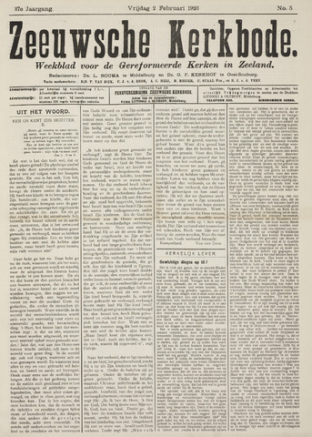 Zeeuwsche kerkbode, weekblad gewijd aan de belangen der gereformeerde kerken/ Zeeuwsch kerkblad 1923-02-02