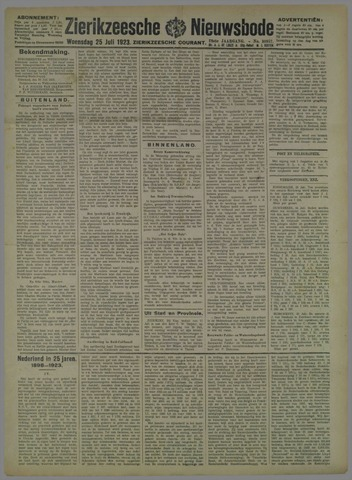Zierikzeesche Nieuwsbode 1923-07-25