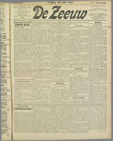 De Zeeuw. Christelijk-historisch nieuwsblad voor Zeeland 1920-07-16