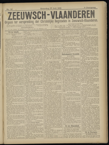 Luctor et Emergo. Antirevolutionair nieuws- en advertentieblad voor Zeeland / Zeeuwsch-Vlaanderen. Orgaan ter verspreiding van de christelijke beginselen in Zeeuwsch-Vlaanderen 1918-07-27