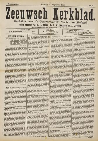 Zeeuwsche kerkbode, weekblad gewijd aan de belangen der gereformeerde kerken/ Zeeuwsch kerkblad 1908-08-14