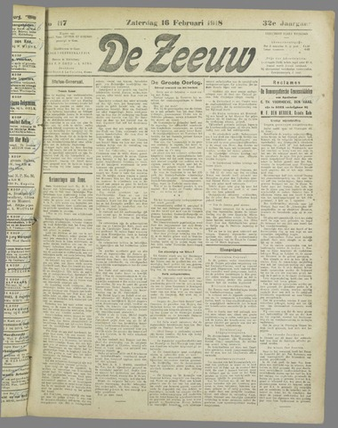 De Zeeuw. Christelijk-historisch nieuwsblad voor Zeeland 1918-02-16