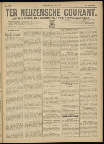 Ter Neuzensche Courant. Algemeen Nieuws- en Advertentieblad voor Zeeuwsch-Vlaanderen / Neuzensche Courant ... (idem) / (Algemeen) nieuws en advertentieblad voor Zeeuwsch-Vlaanderen 1933-06-30
