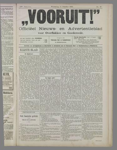 """""""Vooruit!""""Officieel Nieuws- en Advertentieblad voor Overflakkee en Goedereede 1911-10-11"""