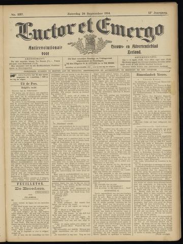 Luctor et Emergo. Antirevolutionair nieuws- en advertentieblad voor Zeeland / Zeeuwsch-Vlaanderen. Orgaan ter verspreiding van de christelijke beginselen in Zeeuwsch-Vlaanderen 1914-09-26