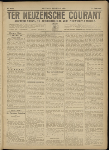 Ter Neuzensche Courant. Algemeen Nieuws- en Advertentieblad voor Zeeuwsch-Vlaanderen / Neuzensche Courant ... (idem) / (Algemeen) nieuws en advertentieblad voor Zeeuwsch-Vlaanderen 1931-02-06