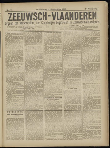Luctor et Emergo. Antirevolutionair nieuws- en advertentieblad voor Zeeland / Zeeuwsch-Vlaanderen. Orgaan ter verspreiding van de christelijke beginselen in Zeeuwsch-Vlaanderen 1918-09-11