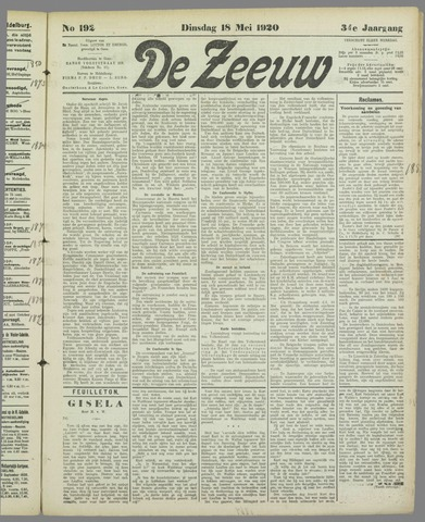 De Zeeuw. Christelijk-historisch nieuwsblad voor Zeeland 1920-05-18