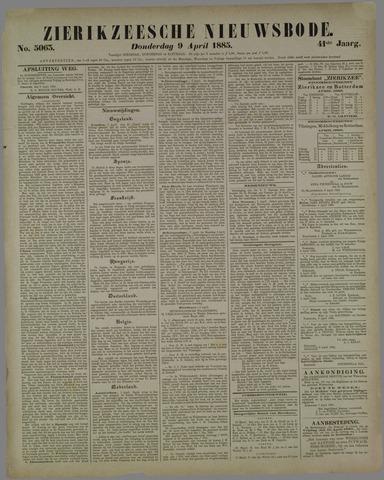 Zierikzeesche Nieuwsbode 1885-04-09
